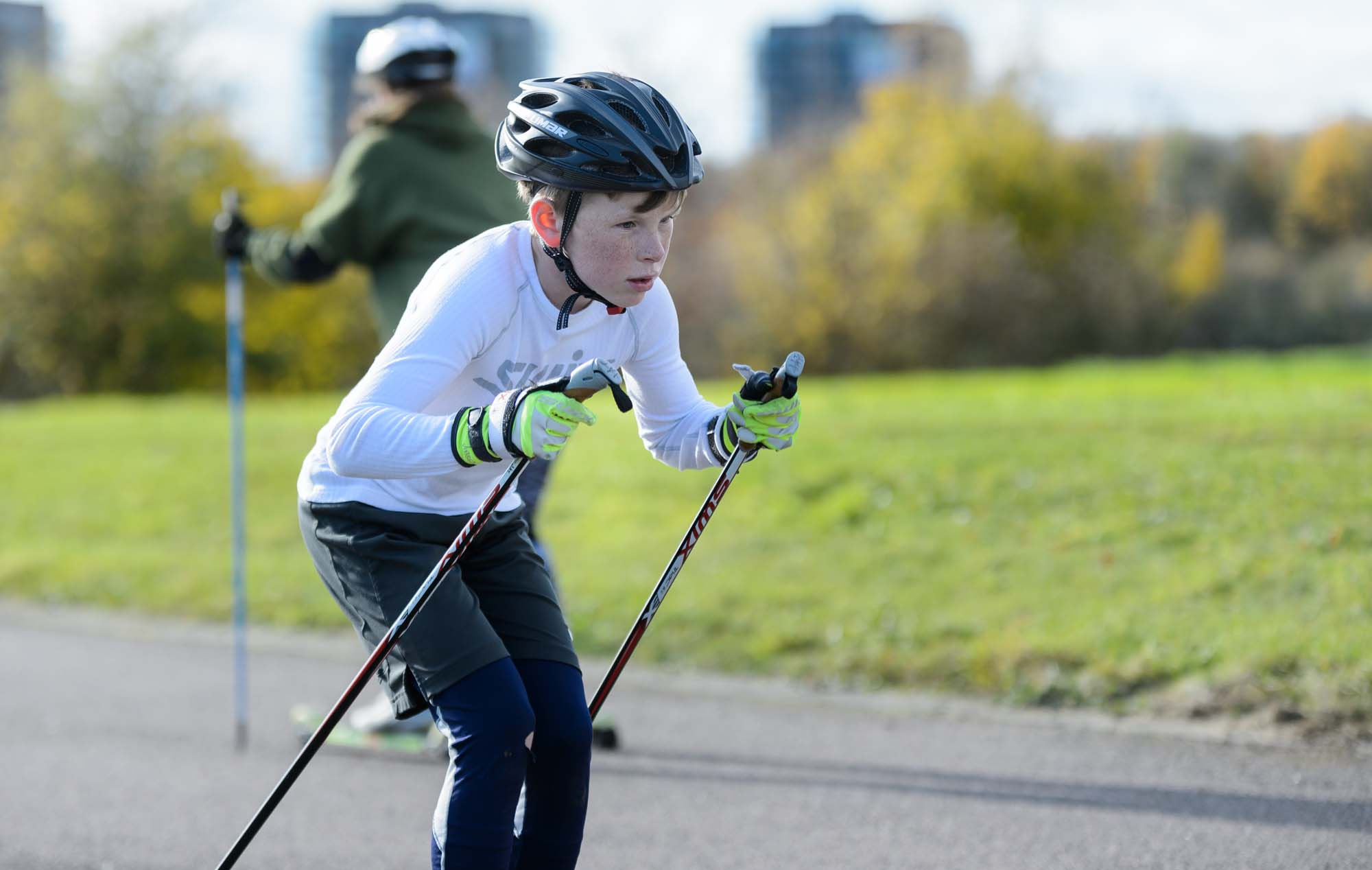 A boy trains in nordic skiing