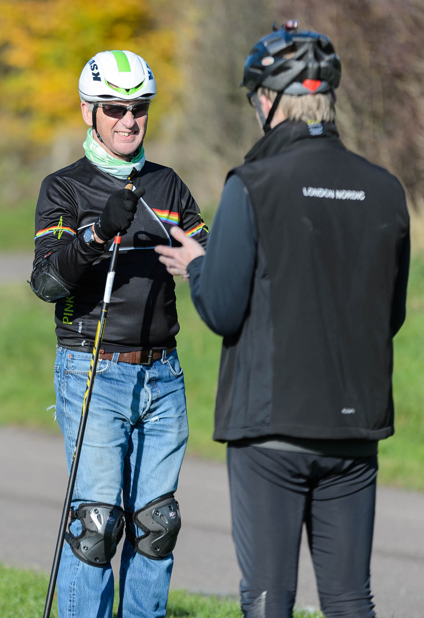 A nordic skiing coaching session