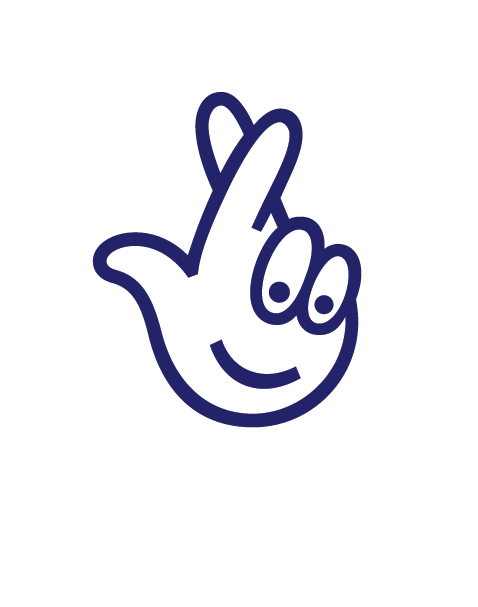 The National Lottery crossed fingers logo.