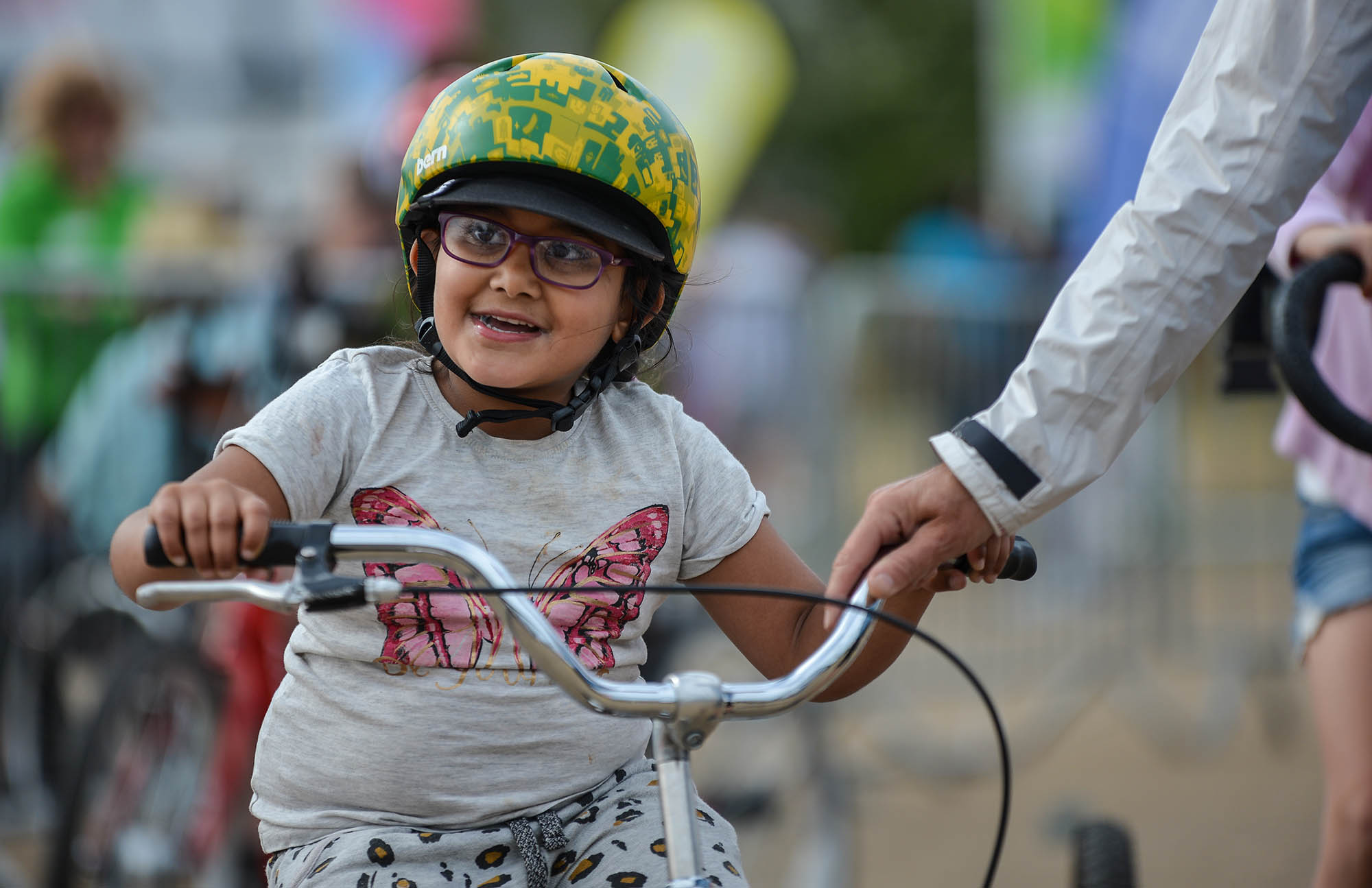 young girl on bike