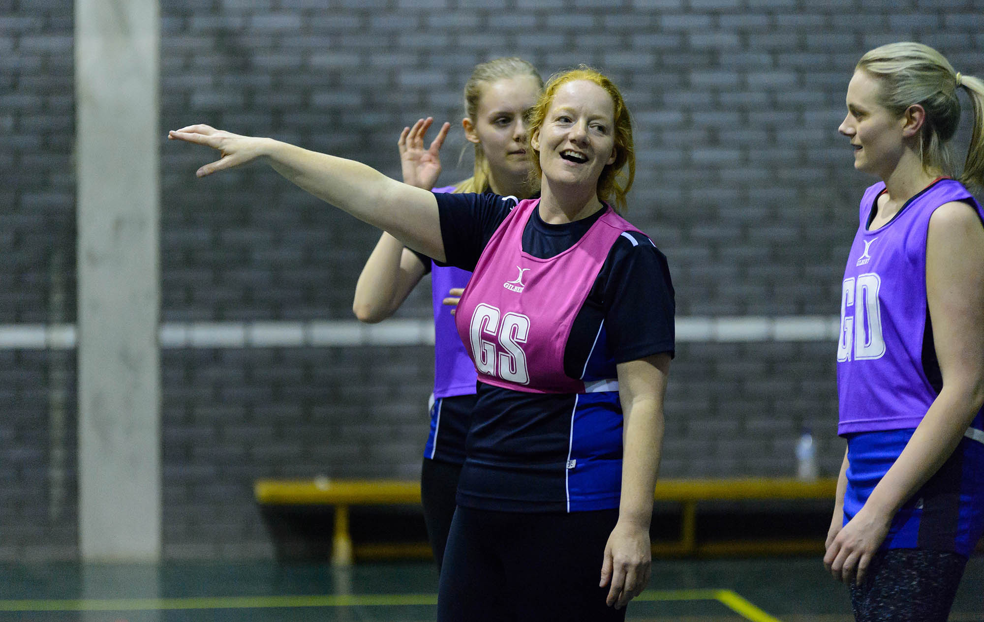 group of three netball players