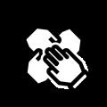 华体会高额返水体育英格兰的价值观图标 - 包含。四只手的黑色轮廓,一个在彼此之上。