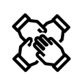 Sport England's values icon - inclusivity. The black outline of four hands, one on top of each other.