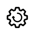 Recover and reinvent icon - the black outline of a cog, with a circular arrow inside it, on a white background