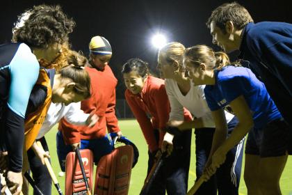 Group huddle during hockey game