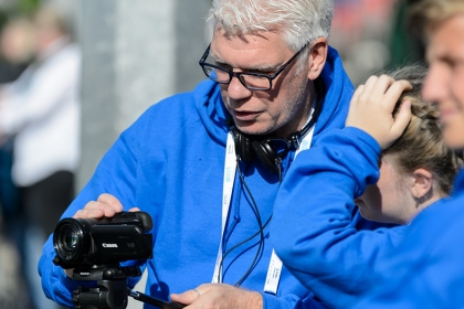 School Games organisers film a hockey match at the 2017 School Games in Loughborough