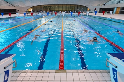 Lane swimming at a public indoor swimming pool - the London Aquatics Centre