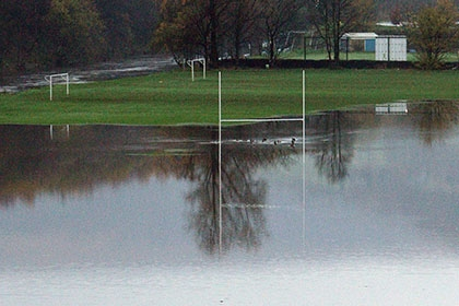 A flooded playing field.