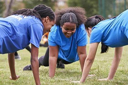 Three children enjoy being active