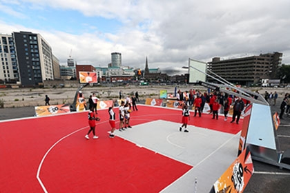 Children in Birmingham play 3x3 basketball at celebrations to mark two years until Birmingham 2022