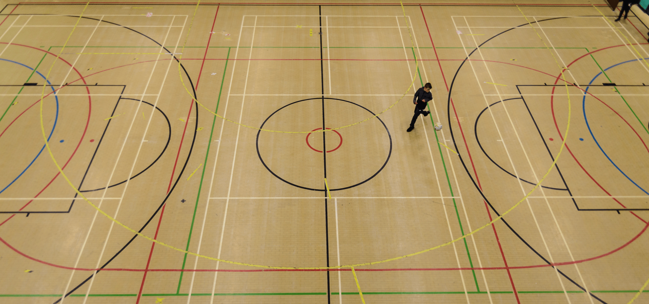 Birds eye view of sports hall