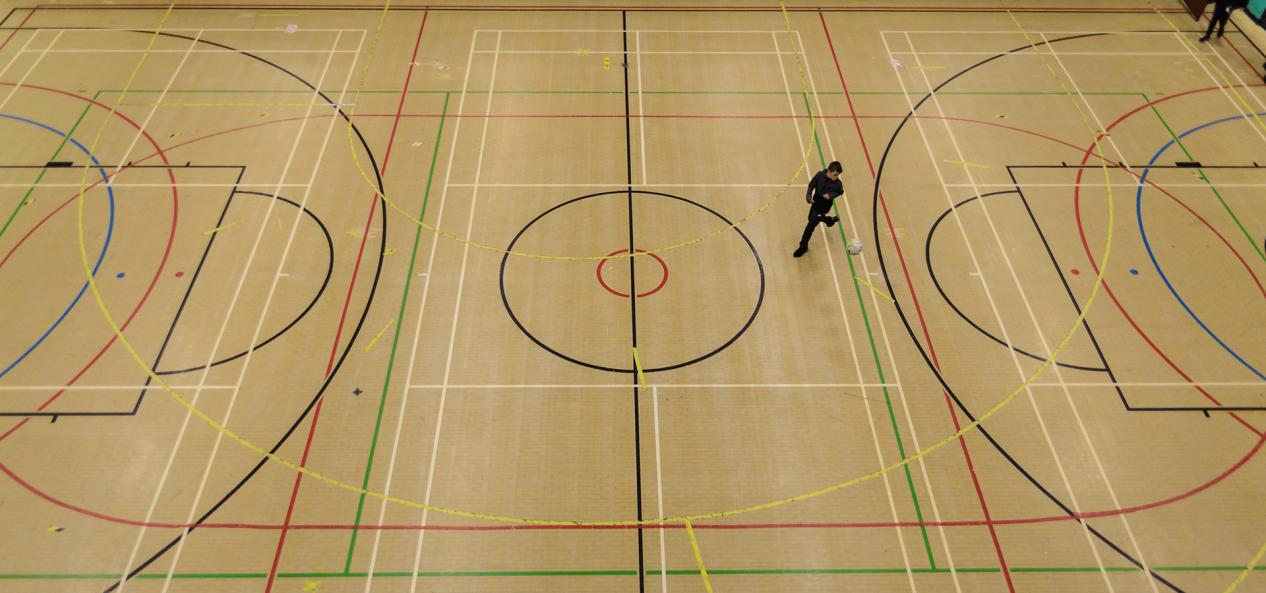 Birds eye view of sports hall