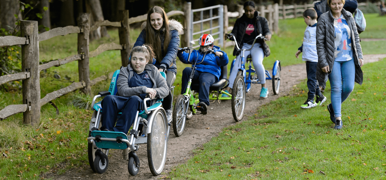 Disabled children being active outdoors