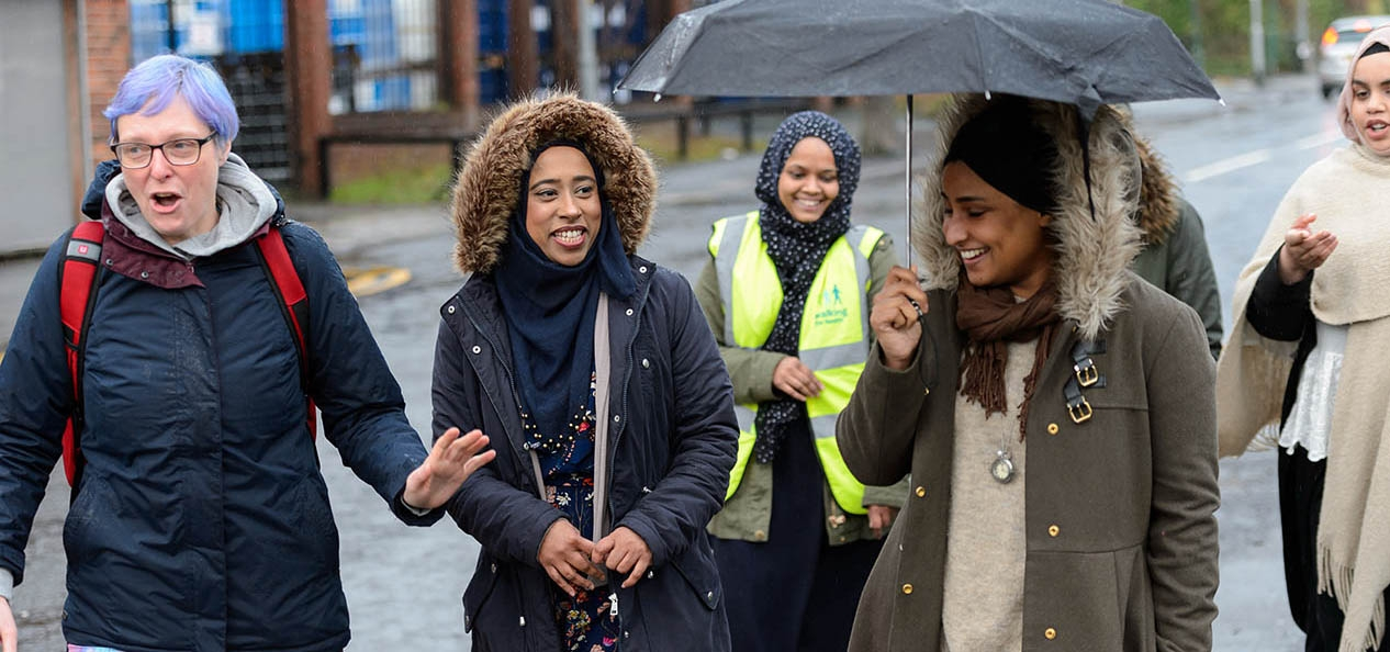 A group of women walking - part of the Diversity Matters North West project