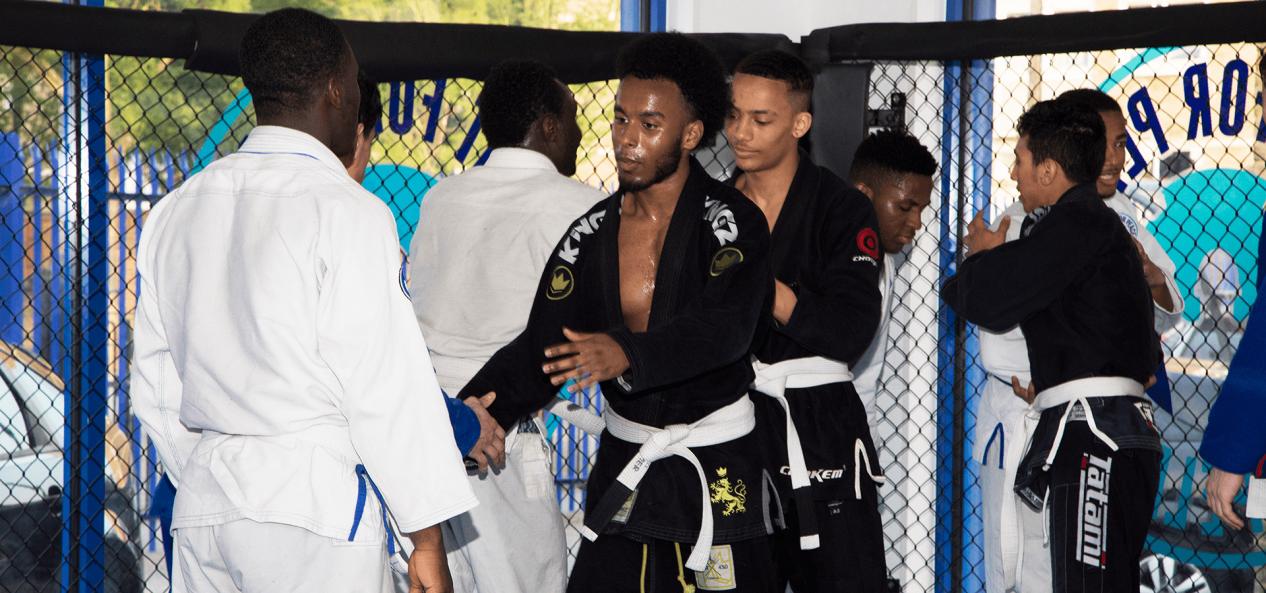 Judo fighters talking post-fight