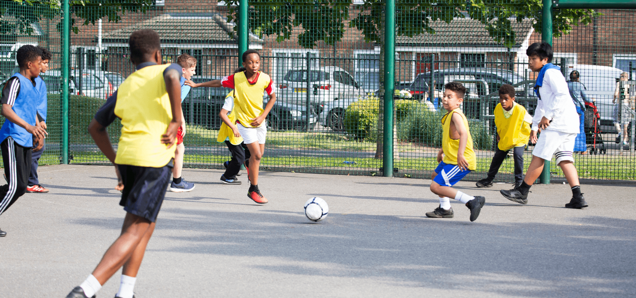 Safeguarding football cages action photo