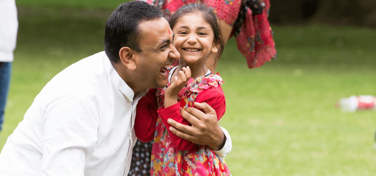 Safeguarding smiling little girl