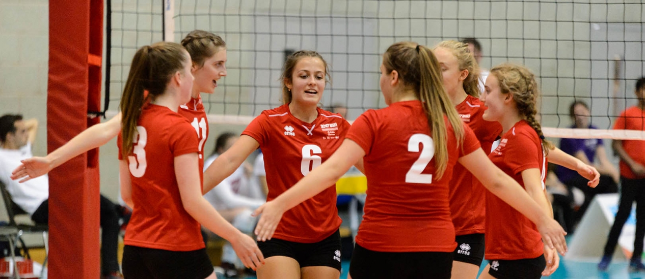 A group of volleyball players at the School Games