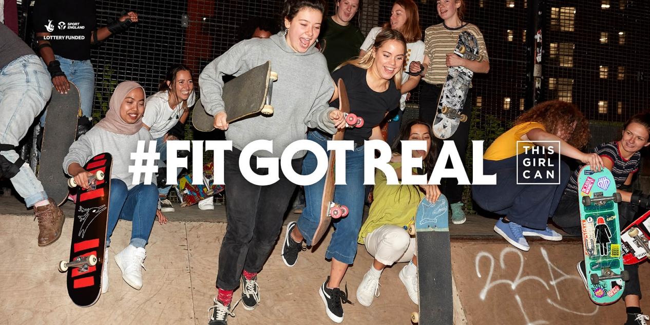 group of girls skateboarding