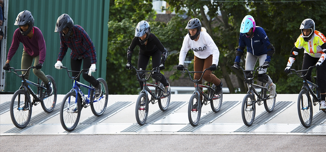 The start of a women's BMX race
