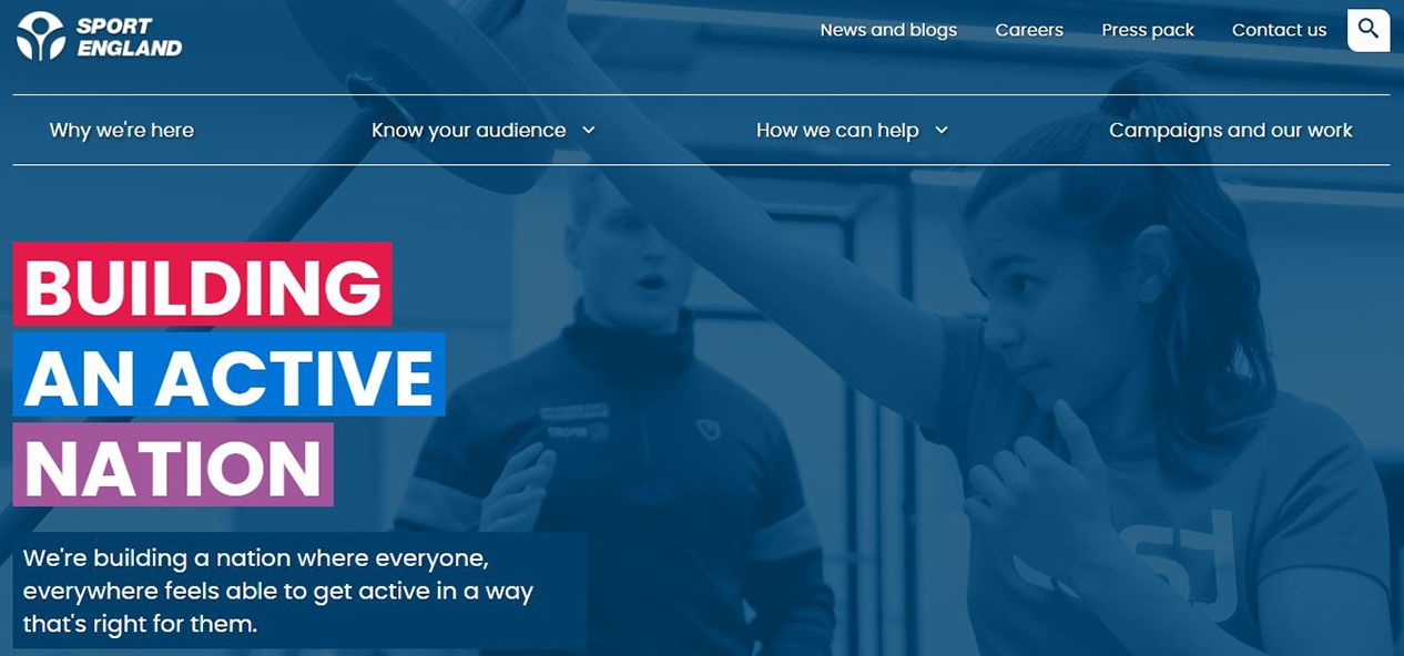 Sport England homepage