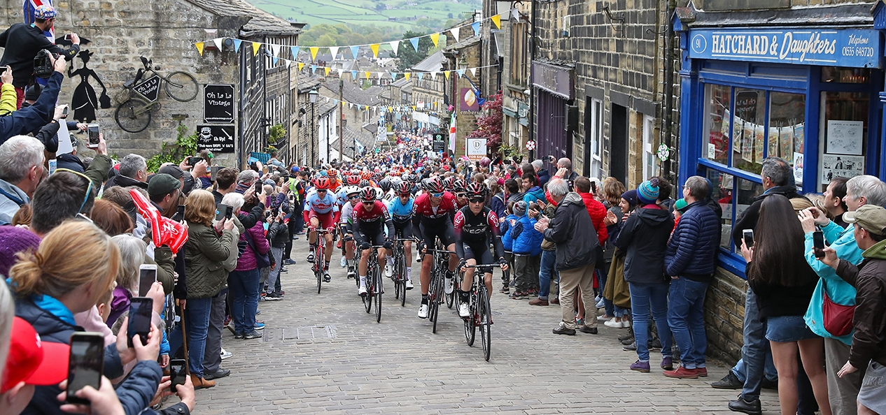 Cyclists being cheered on at the Tour de Yorkshire.