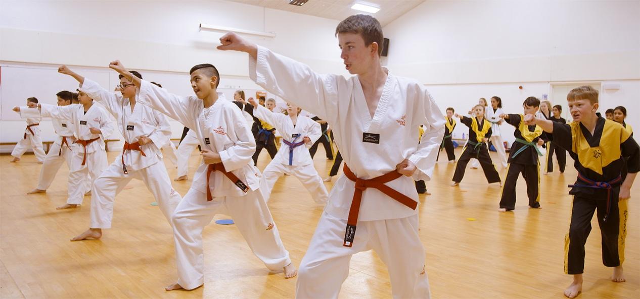Young people take part in Taekwondo