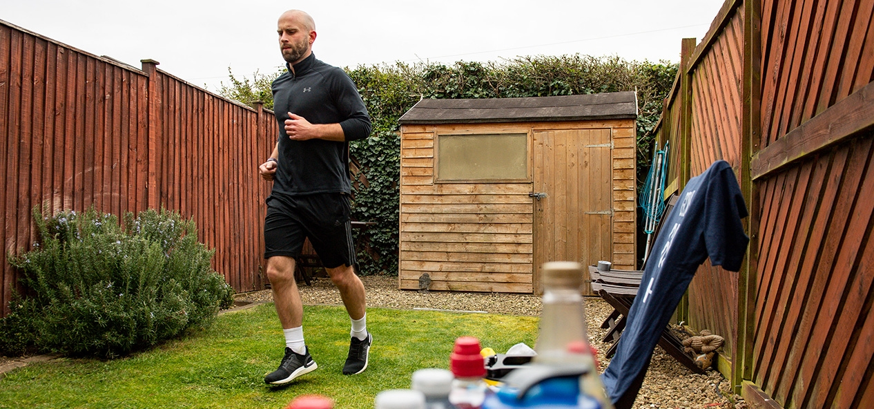 James Campbell runs a marathon in his back garden