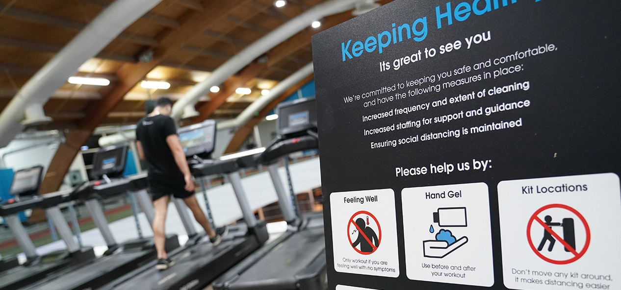 A gym in Manchester reopens with signs up on how to social distance and use equipment safely