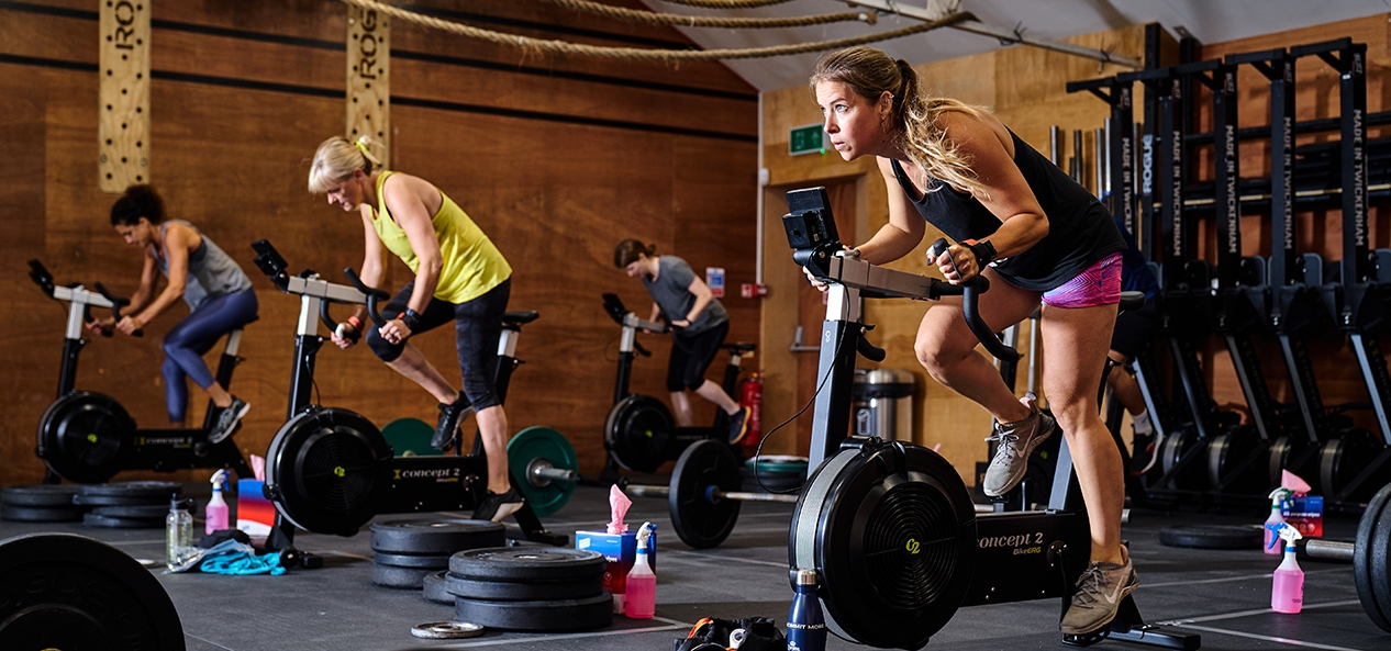 Women work out at a gym