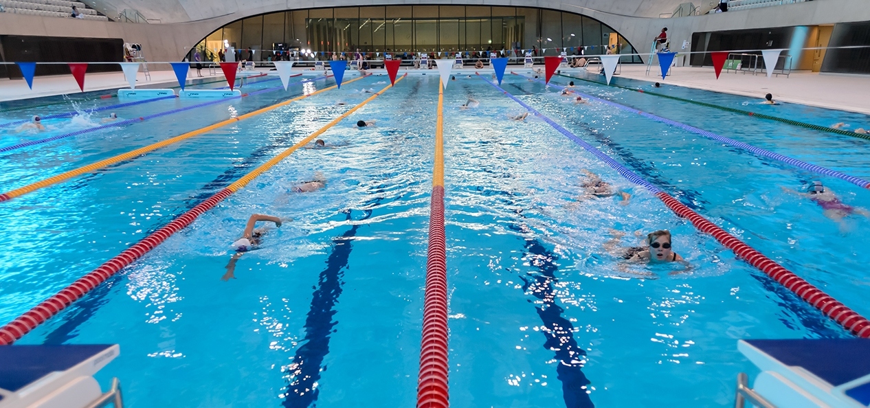 Lane swimming at a public indoor swimming pool - the London Aquatics Centre