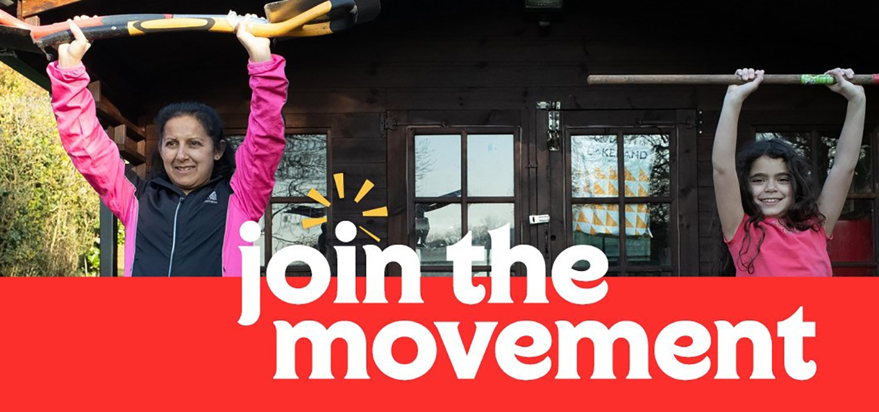 A Join the Movement campaign poster showing a mother and daughter getting active