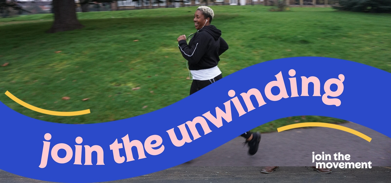 A woman runs in the park