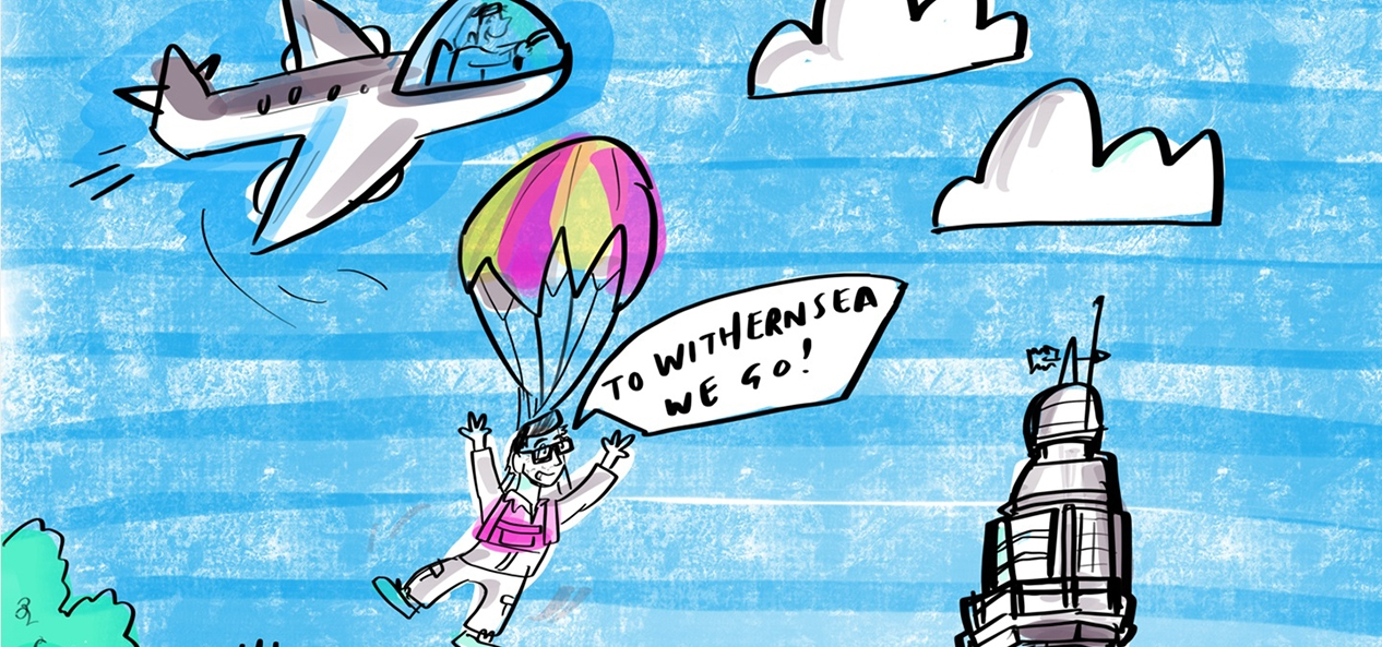 A cartoon illustration of Tim Hollingsworth 'parachuting' into Withernsea for his virtual visit.