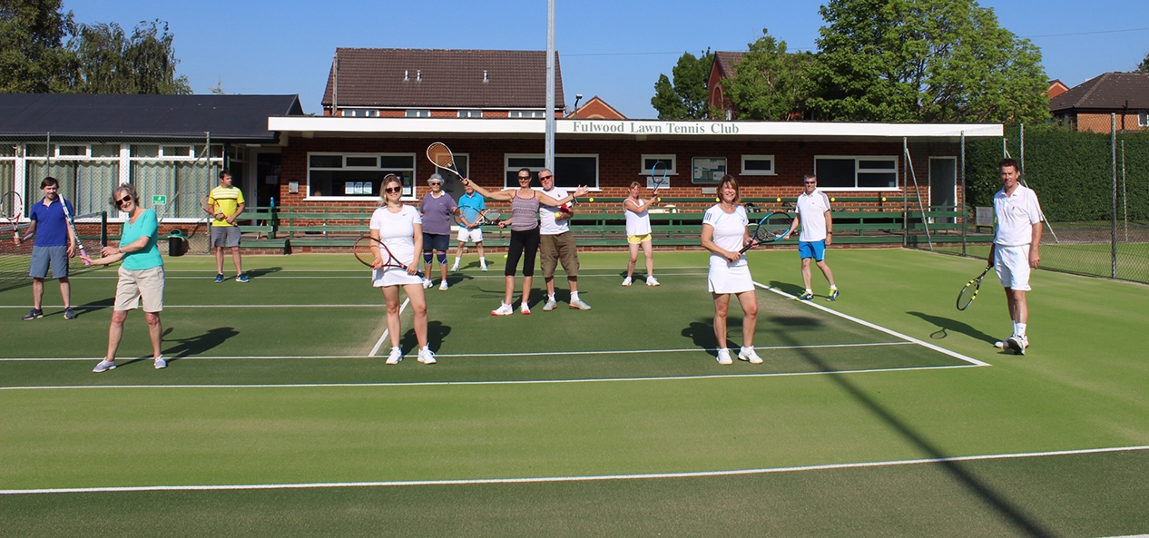 Members of Fulwood Lawn Tennis Club pose whilst being socially distanced last year