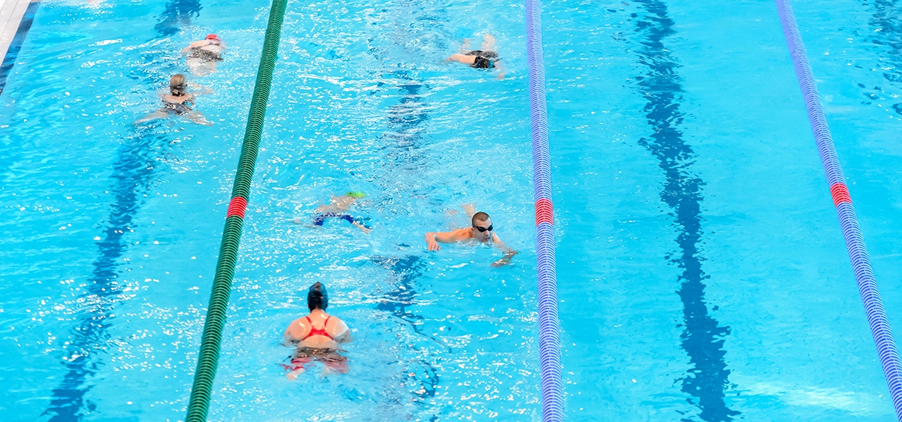 Lane swimming at a public indoor swimming pool.
