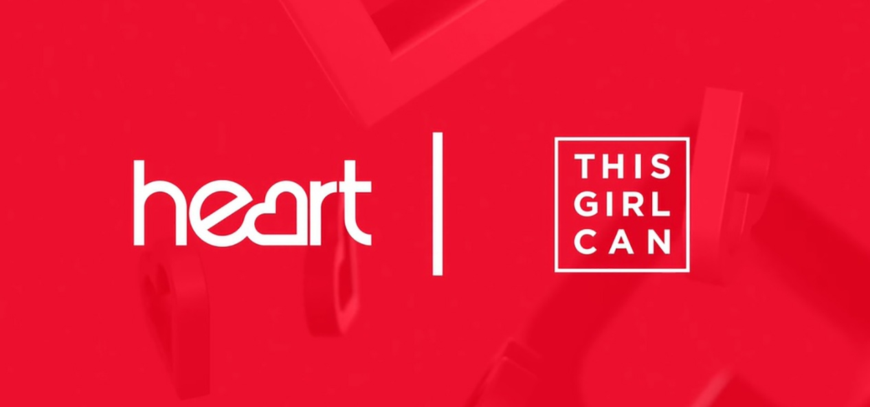 The Heart Radio and This Girl Can logos on a red background.