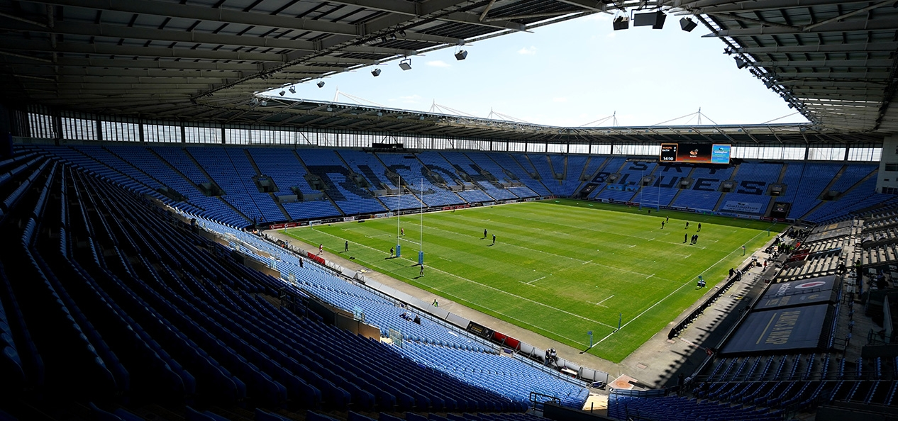 A general view of an empty Ricoh Arena during a Premiership Rugby match