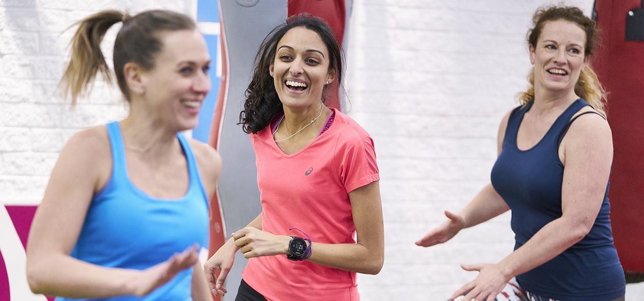 Women enjoying working out togther