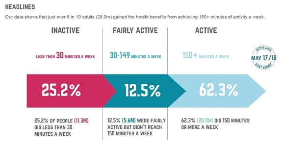 graph showing average activity levels of adults