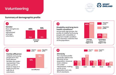 graphs showing amount of volunteers in different demographics