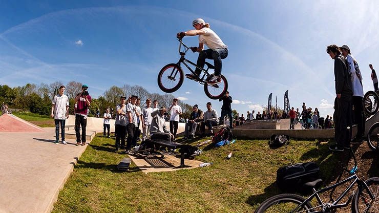 A person making a jump on a BMX