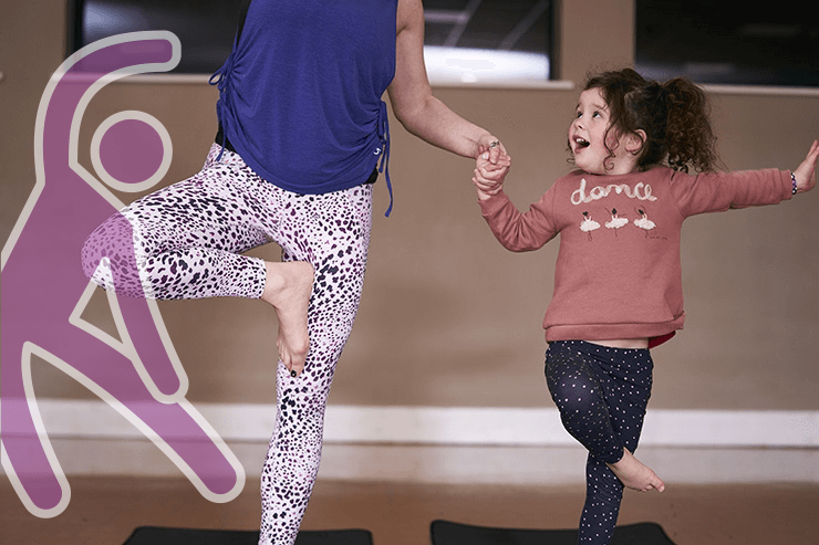 A mum and daughter getting active together.