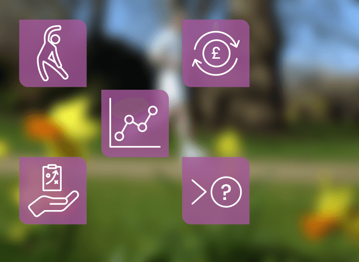 A set of five icons showing the support and guidance offered by Sport England.